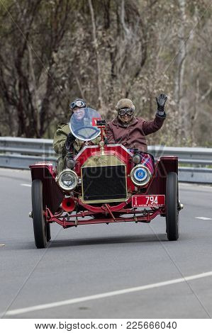 Adelaide, Australia - September 25, 2016: Vintage 1915 Ford T Speedster Driving On Country Roads Nea