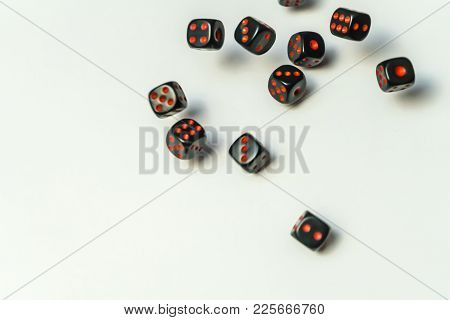 Dice Are Thrown On The Table. Dice Game On White Background.