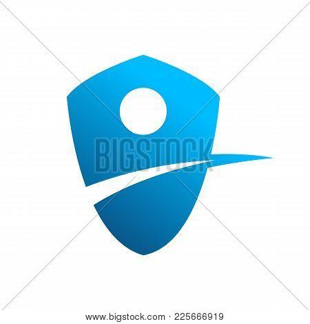Blue Lane Shield Corporate Symbol Vector Illustration Graphic Design