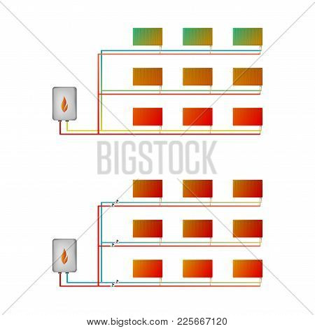 Two-pipe Horizontal Thermal Imaging Heating System Vector Illustration. Two Types Of Schemes: With T