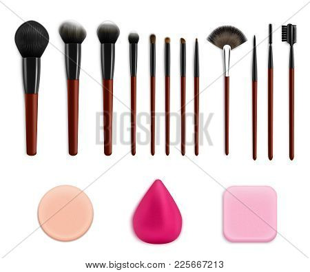 Makeup Brushes Sponges Realistic Collection With Isolated Colourful Images Of Sponges And Various Ap
