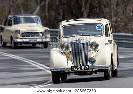 Adelaide, Australia - September 25, 2016: Vintage 1949 Mg Y Saloon Driving On Country Roads Near The