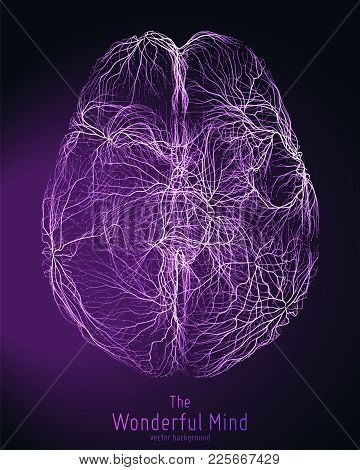 Vector Violet Illustration Of 3d Brain Top With Synapses And Glowing Neurons. Conceptual Image Of Id