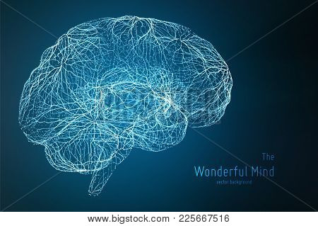 Vector Blue Illustration Of 3d Brain Side With Synapses And Glowing Neurons. Conceptual Image Of Ide