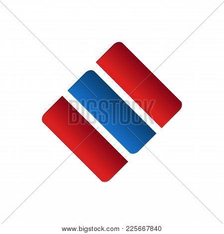 Triple Box Shape Abstract Corporate Symbol Vector Illustration Graphic Design