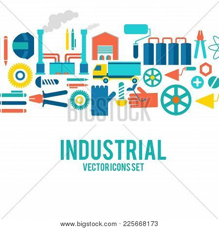 Industrial Vector Colored Decorative Icons Set Concept With Motortruck, Smokestacks, Boot, Pump And