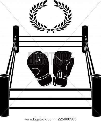 Stencil Of Boxer Ring. Vector Illustration For Design