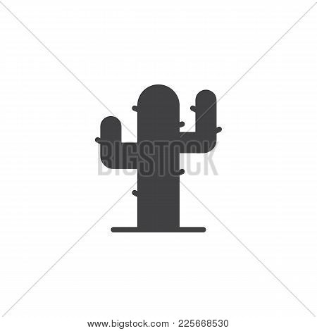 Cactus, Desert Plant Icon Vector, Filled Flat Sign, Solid Pictogram Isolated On White. Saguaro Cactu