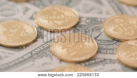 Stack of Bitcoin over USD
