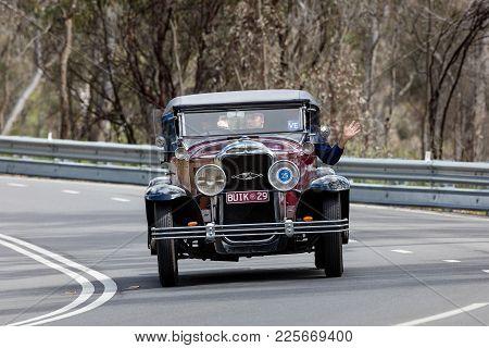 Adelaide, Australia - September 25, 2016: Vintage 1929 Buick Silver Anniversary Roadster Driving On