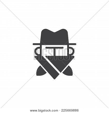 Robber In Mask Icon Vector, Filled Flat Sign, Solid Pictogram Isolated On White. Cowboy Bandit In Ha