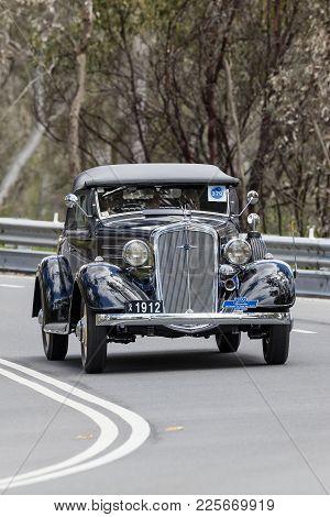 Adelaide, Australia - September 25, 2016: Vintage 1934 Chevrolet Da Master Roadster Driving On Count
