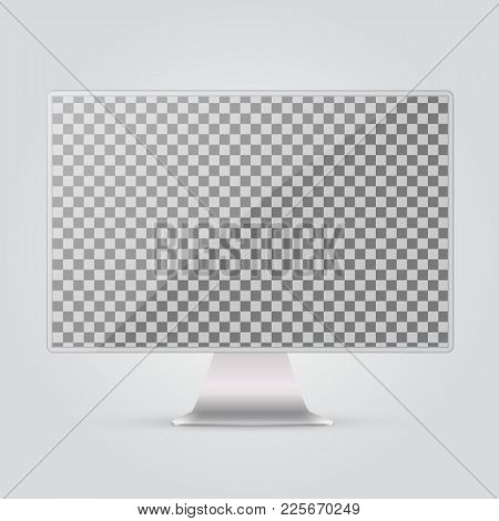 Abstract Monitor.silver Color With  Black Blank Touch Screen.