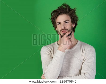 Man With Disheveled Hair In Underwear. Sleepy Man With Beard On Green Background. Barber And Hairdre