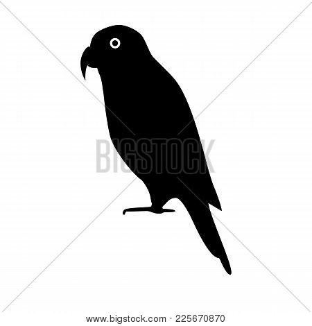 Black-capped Lory Parrot Silhouette Icon In Flat Style. Australian Exotic Bird Symbol On White Backg