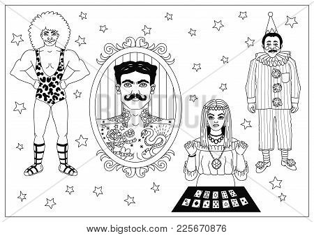 Vintage Circus Illustrations Collection. Lineart Illustrations For Adult Coloring Book. Circus Perfo
