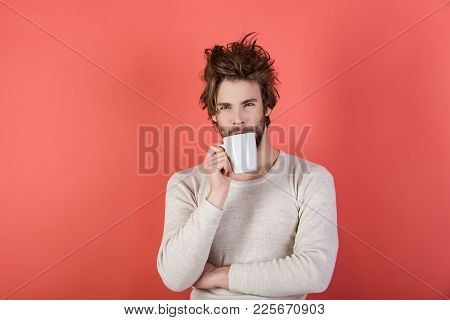 Cold And Flu, Single. Man With Disheveled Hair Drink Mulled Wine. Morning With Coffee Or Milk. Sleep