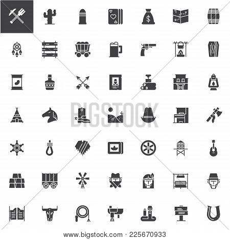 Wild West Vector Icons Set, Modern Solid Symbol Collection, Filled Style Pictogram Pack. Signs, Logo