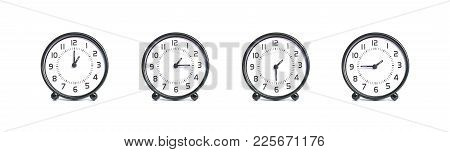 Closeup Group Of Beautiful Black And White Clock For Decoration Show The Time In 1 , 1:15 , 1:30 , 1