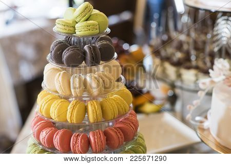 Dessert, Food, Snack. Macaroons On Cake Stand. French Cuisine, Menu, Recipes. Macaroon Cookies For B