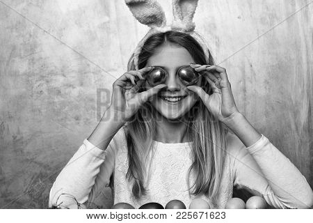 Happy Easter Girl Painter In Pink Bunny Ears With Golden, Colorful Painted Eggs And Pencil Set, Has