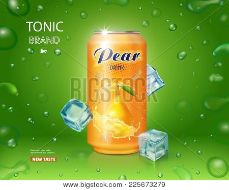Pear Juice Drink Aluminium Can With Ice Cubes Realistic Advertising Design .