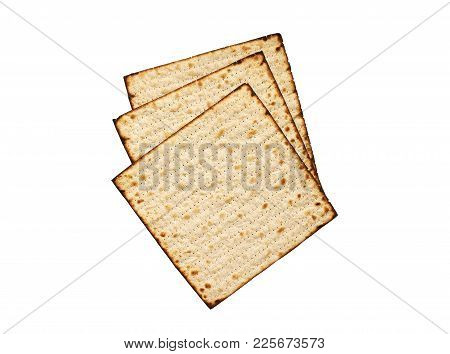 Matzah Isolated On White, Jewish Traditional Passover Bread. Pesach Celebration Symbol. Matzah Dry B