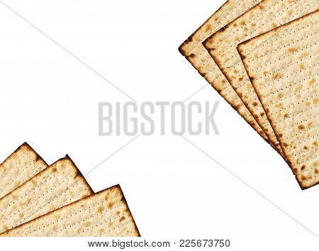 Matzah Isolated On White, Jewish Traditional Passover Bread. Pesach Celebration Symbol. Matzah Bread