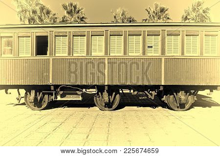 Retro Wooden Railway Carriage At Old Station Of Tel Aviv. Israel Historic Train On The Line From Tel