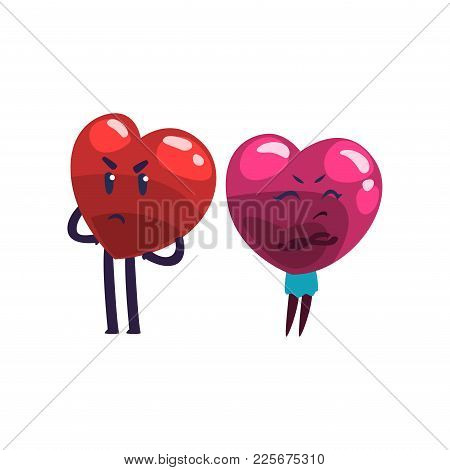 Cute Red And Pink Hearts Characters Quarreling, Funny Couple In Lov, Family Conflict Cartoon Vector