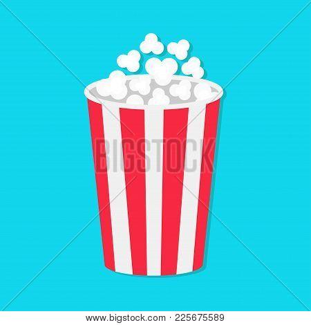 Popcorn Round Bucket Box. Movie Cinema Icon In Flat Design Style. Pop Corn Popping. Blue Background.