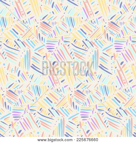 Light Colors Seamless Pattern With Chaotic Hand Drawn Lines. Abstract Scandinavian Style Sketchy Vec