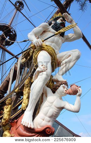 The Figurehead Of The Pirate Ship Scans The Sea For Enemies.