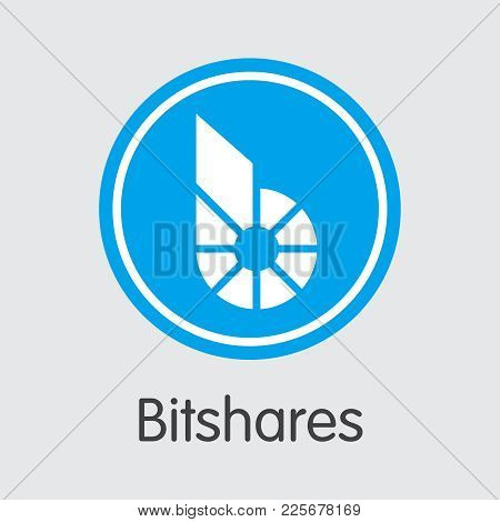 Bitshares: Criptocurrency Blockchain Icon On Grey Background. Virtual Currency. Vector Trading Sign: