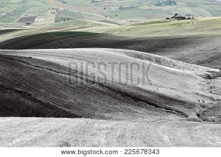Stubble Fields On The Hills Of Sicily, Retro Image Filtered Style