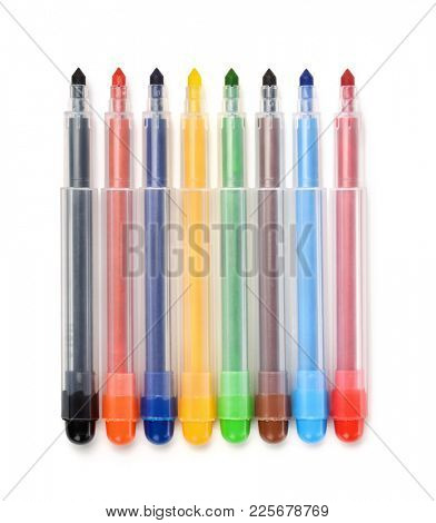 Row of colorful felt tip pens isolated on white