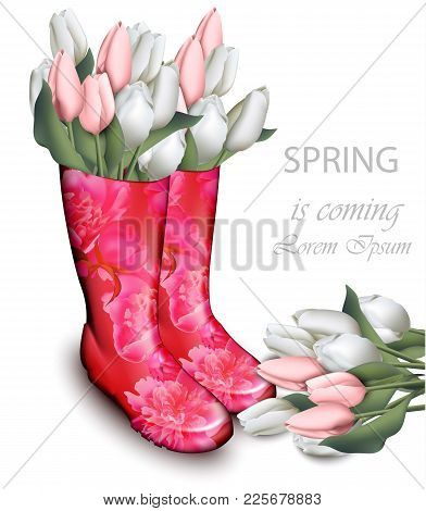 Pink Tulip Flowers Boots. Spring Background With Floral And Rubber Footwear Decor