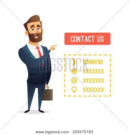 Successful Beard Businessman Character Or Manager Pointing Finger O The Button With The Inscription