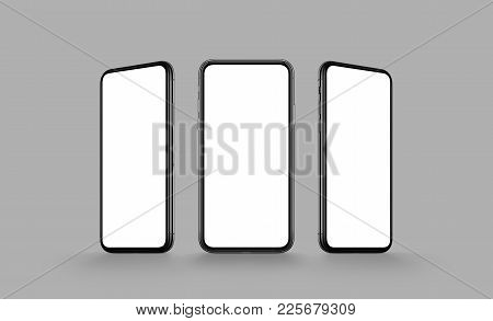 Smartphone like iPhone X multi screen mockup. Several front view smartphones with blank screens on gray background. Smartphone multi screen mockup. 3D illustration.