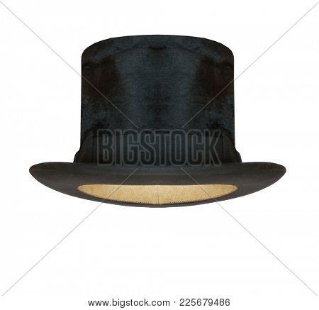 Black cylinder hat isolated on white background.