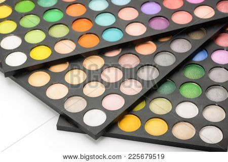 Close up of makeup shade palettes