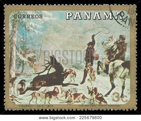 Panama - Circa 1968: Stamp Printed By Panama, Color Edition On Art, Shows Painting Hunting With Dogs