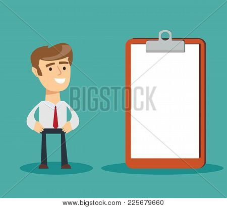 Happy Businessman Looking On Clipboard. Stock Flat Vector Illustration.