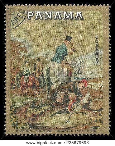 Panama - Circa 1968: Stamp Printed By Panama, Color Edition On Art, Shows Gobelin Hunting On Horseba