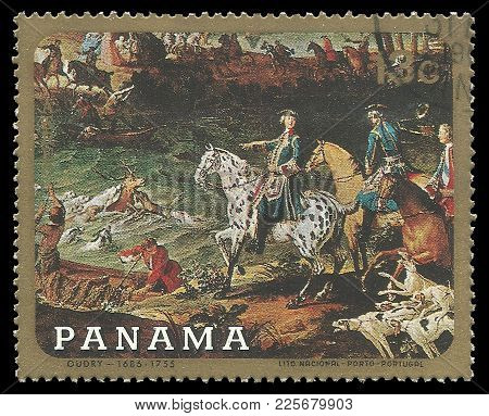 Panama - Circa 1968: Stamp Printed By Panama, Color Edition On Art, Shows Painting Hunting For A Dee