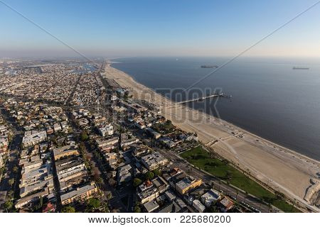 Aerial view of the Belmont Pier neighborhood in Long Beach California.
