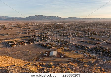 Early morning view of northwest Las Vegas from the top of Lone Mountain in Clark County Nevada.