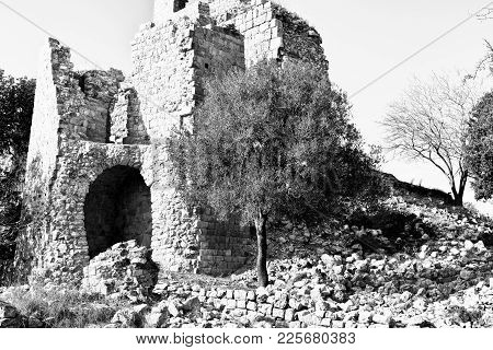 Remnants Of Crusader Castle In Israel. The Yehiam Fortress, National Park Of Israel. Black And White