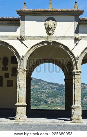 Loggia By Vasari In The Medieval Italian City Of Castiglion Fiorentino.  Castiglion Fiorentino, Orig