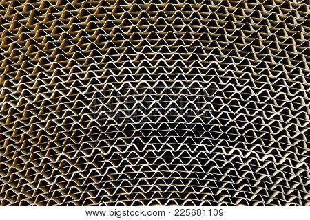 Corrugated Board Roll. Top View Close Up.